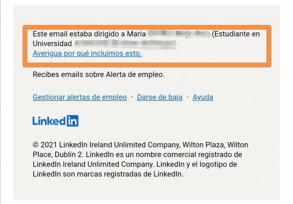 Ejemplo de mensaje de seguridad enviado por LinkedIn a sus usuarios para protegerlos de correos fraudulentos