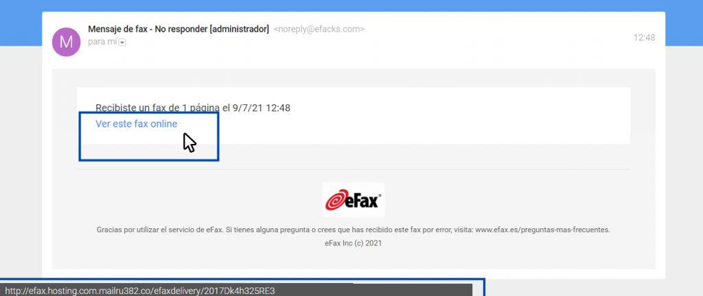 Phishing, ejemplo de un correo falso