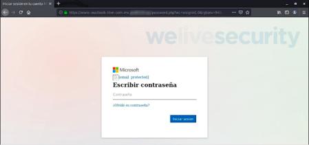 Ejemplo de página falsa para robar correo electrónico