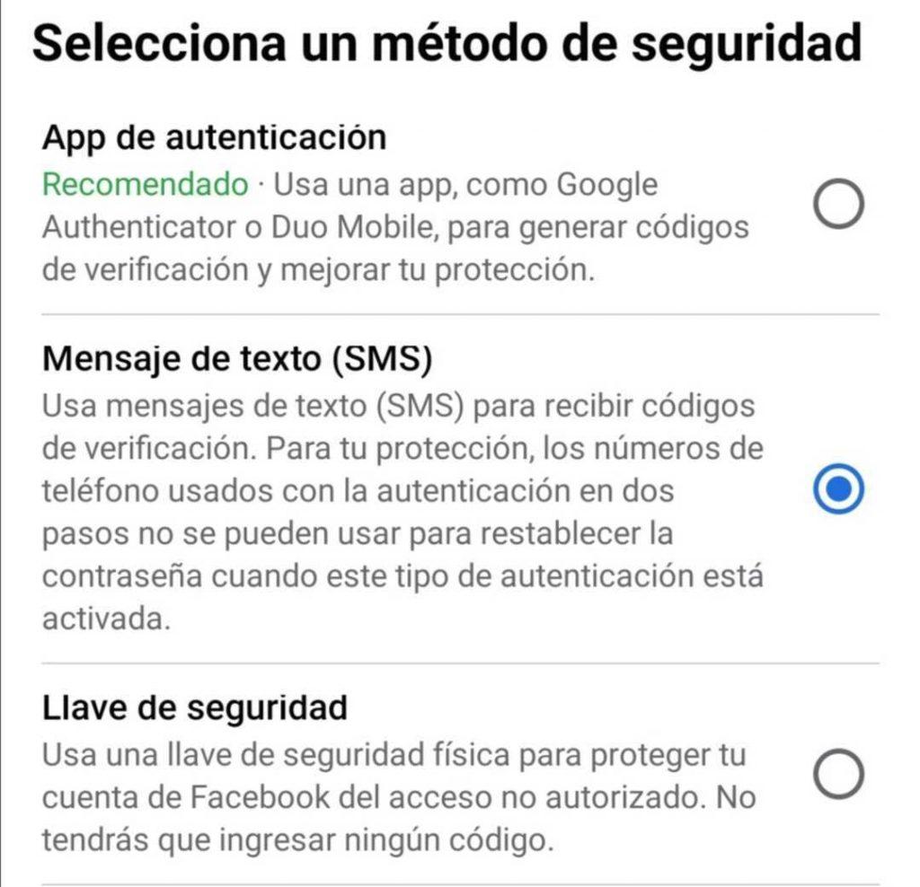 Autenticación en dos pasos en Facebook