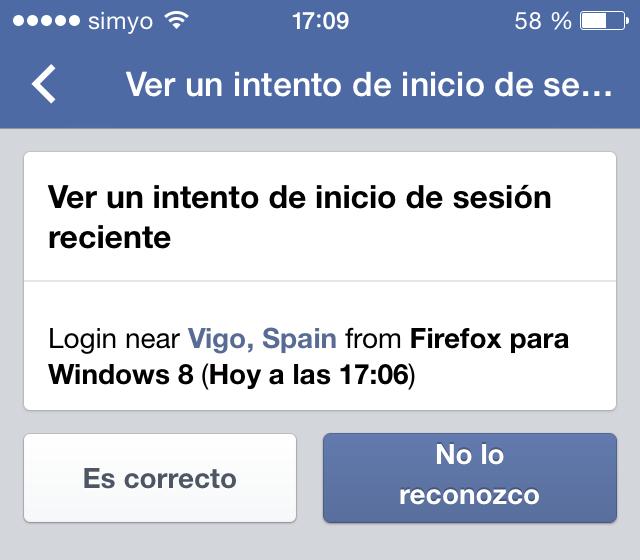 Alerta de inicio de sesión en facebook